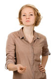 Woman showing sign of money by fingers royalty free stock photo