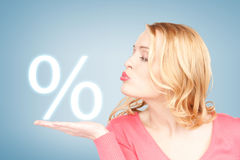 Woman showing sign of percent in her hand. Picture of woman showing sign of percent in her hand Royalty Free Stock Photos