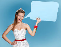 Woman showing sign speech bubble banner looking happy excited Stock Photo