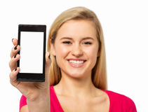 Woman Showing Smart Phone Against White Background Royalty Free Stock Images