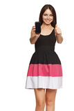 Woman showing a smart phone Stock Photo