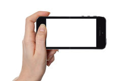 Woman showing smart phone isolated on white stock illustration