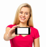 Woman Showing Smart Phone Over White Background Royalty Free Stock Images