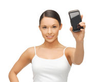 Woman showing smartphone Stock Photos