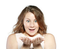 Woman Showing Something Royalty Free Stock Images