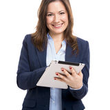 Woman showing something on the hand Royalty Free Stock Photography