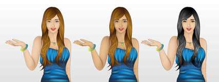 Woman showing something / welcome gesture in 3 skin / hair color. Beautiful young woman showing something, or could be welcome gesture, wearing evening gown, in Stock Image