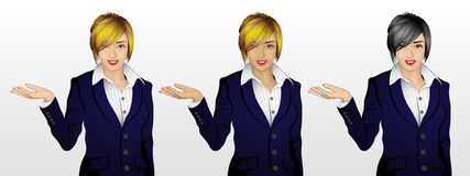 Woman showing something / welcome gesture in 3 skin / hair color. Beautiful young woman showing something, or could be welcome gesture, wearing formal office Stock Image