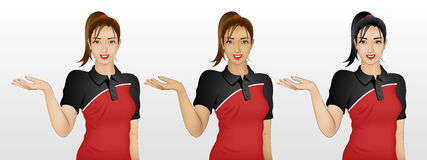 Woman showing something / welcome gesture in 3 skin / hair color. Beautiful young woman showing something, or could be welcome gesture, wearing polo t-shirt, in Royalty Free Stock Photo