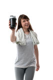 Woman showing sports shaker Royalty Free Stock Images