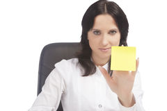 Woman showing sticker note Stock Photo