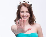 Woman showing stop gesture with hand Stock Image