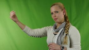 Woman showing stop gesture stock video footage