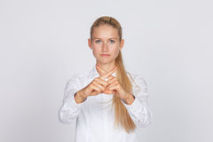 Woman showing stop gesture Stock Image