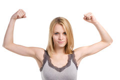 Woman Showing Strength stock photo