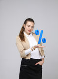 Woman showing symbol of percent. Bank Deposit or Sale concept. Royalty Free Stock Photo
