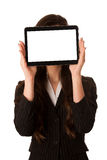 Woman showing tablet Stock Images