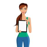 Woman showing tablet computer portrait Stock Image