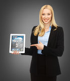 Woman showing tablet pc with news Stock Images