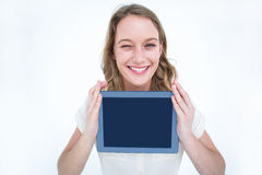 Woman showing tablet pc Royalty Free Stock Photos