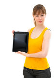 Woman showing tablet screen Stock Photos