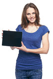 Woman showing tablet screen smiling Stock Images