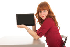 Woman showing tablet Stock Photos