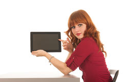 Woman showing tablet Royalty Free Stock Image