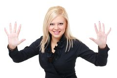 Woman is showing ten fingers Royalty Free Stock Image