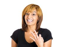 Woman showing three fingers sign Royalty Free Stock Image