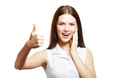 Woman showing thumb up Stock Photos