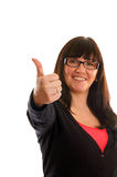 Woman showing thumbs Stock Photo