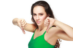 Woman showing thumbs down Stock Photo