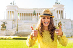 Woman showing thumbs up in Rome Royalty Free Stock Photos