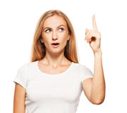 Woman showing thumbs up on white Royalty Free Stock Photography