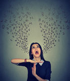 Woman Showing Time Out Alphabet Letters Coming Out Of Mouth Royalty Free Stock Photography