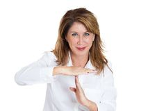 Woman showing time out gesture Stock Photos