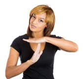 Woman showing time out sign Royalty Free Stock Images