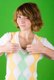 Woman showing trumb gesture Stock Photos