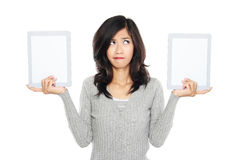 Woman showing two blank tablet computer screen Stock Photos