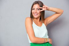 Woman showing two fingers Royalty Free Stock Image