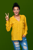 Woman showing two fingers Royalty Free Stock Photo