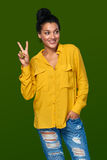 Woman showing two fingers Stock Photography