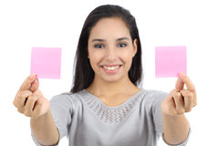 Woman showing two paper notes Stock Photography