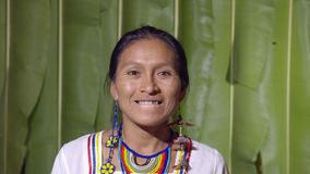 Woman Showing The Upper Teeth. Like In Front Of The Dentist In Ecuador stock footage