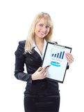 woman showing the upward trend of a graphic chart Royalty Free Stock Photos