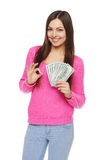 Woman showing us dollar money Stock Photo