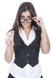 Woman showing victory sign Royalty Free Stock Photography