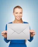 Woman showing virtual envelope Royalty Free Stock Images