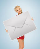 Woman showing virtual envelope Stock Images